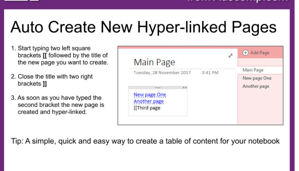 Tips and Tricks for OneNote users: MS OneNote can auto-create new hyper-linked pages.