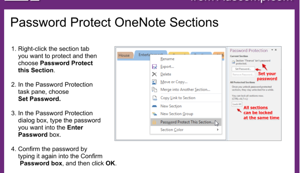 Tips and Tricks for OneNote users: Password protect notebook sections. Please share.