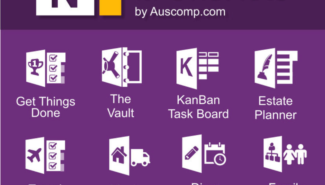 Medley of Free and Pro MS OneNote templates.