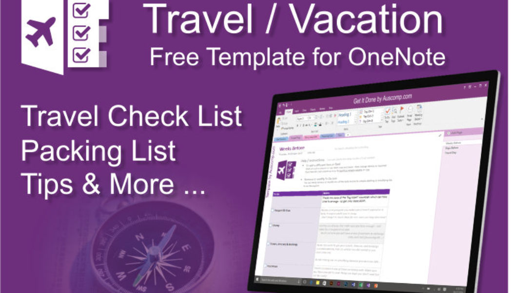 Travel agent promote this free Travel Checklist for MS OneNote to your customers.