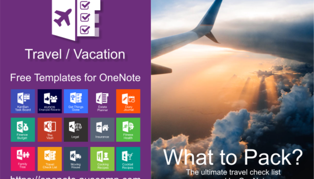 Free Travel Checklist for MS OneNote. Travel agents, contact us for your own branded version.