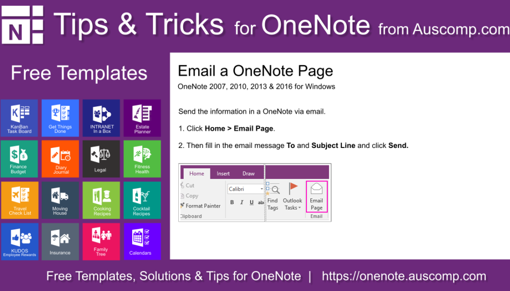 Tips and Tricks for OneNote users: Email a OneNote Page. Please share.