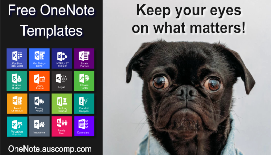 Medley of free MS OneNote templates. Get Things Done, KanBan Task Board, Intranet in a Box, Diary, Moving House Checklist, Travel Vacation Checklist, Family Tree, Wiki & Estate Planner.