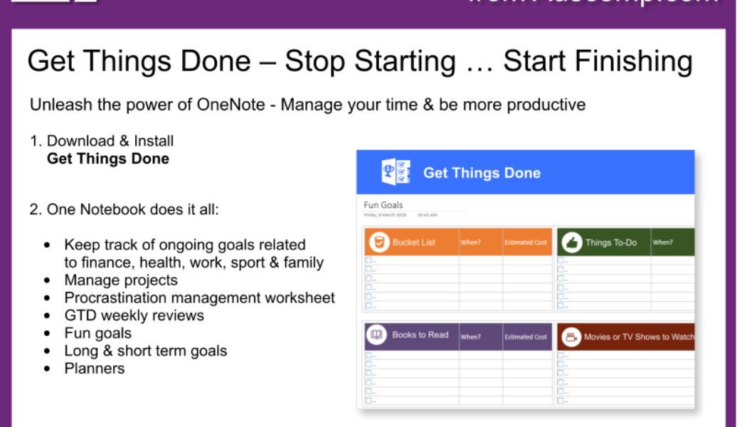 Tips and Tricks for OneNote users: Get Things Done – Manage your time & be more productive.