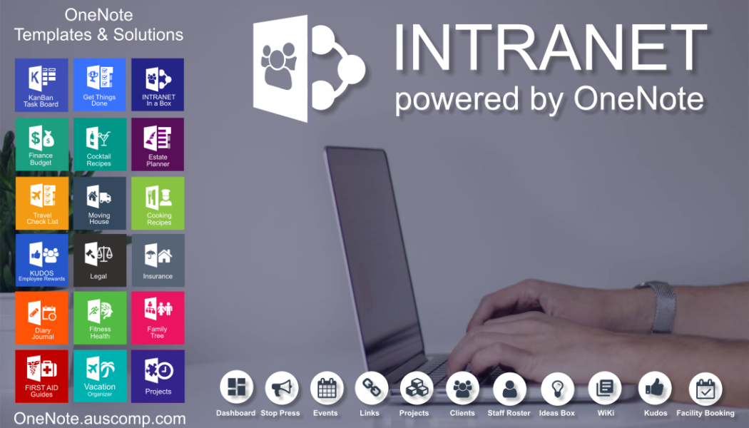 Intranet powered by OneNote the secure cloud based information hub.