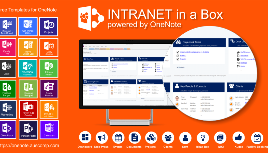 Intranet powered by OneNote. Secure cloud based information hub.