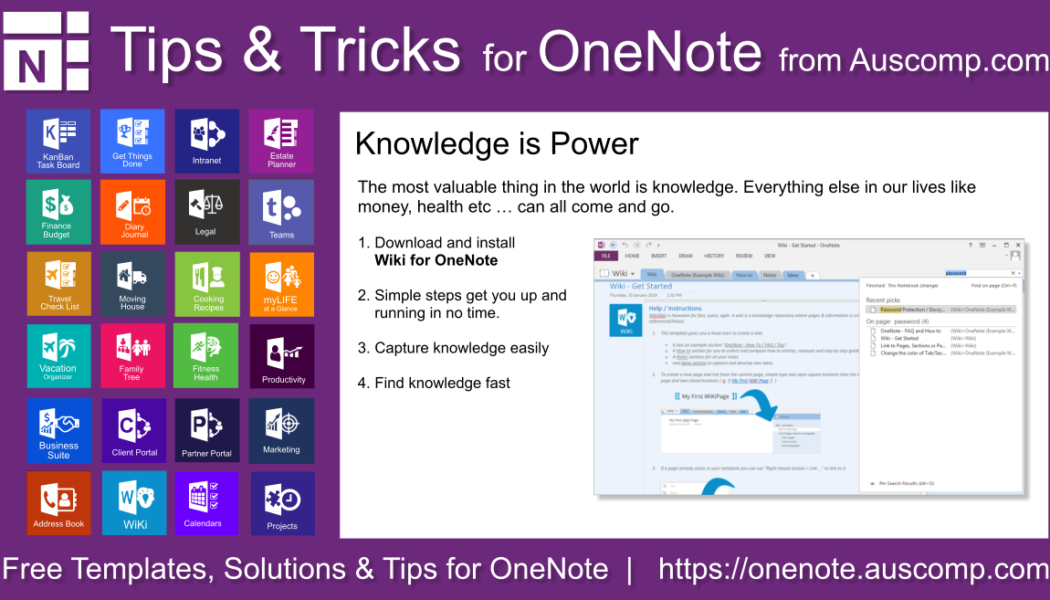 Tips and Tricks for OneNote users: Create your own Wiki using OneNote. Knowledge is Power. Please share.