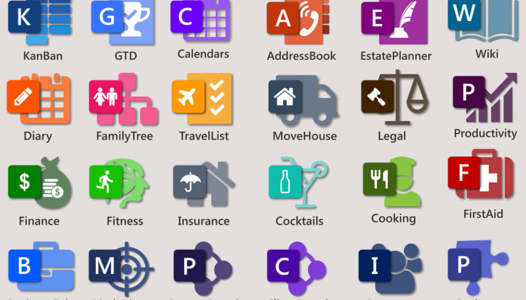 Medley of free MS OneNote templates. KanBan Task Board, GTD, Intranet, Planner, To-Do Lists, Diary, Moving House Checklist, Travel Vacation Checklist, Family Tree, Projects and Teams
